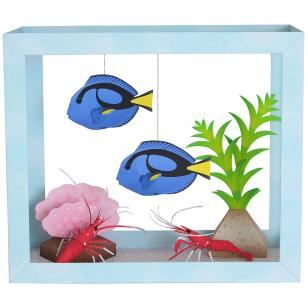 Blue Tang/Fire Shrimp,Animals,Paper Craft,Waterweed,seagrass,coral,fish,sea,Moving,Aquarium